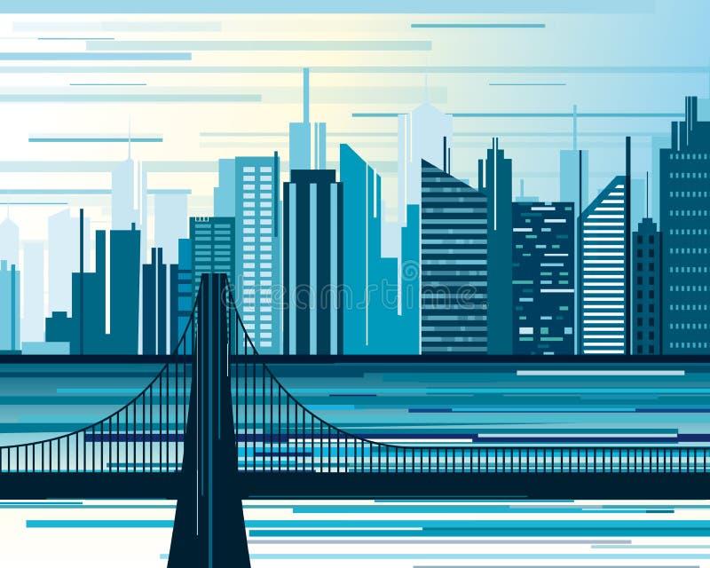 Vectorillustratie van stedelijk stadslandschap Grote moderne stad met een brug en wolkenkrabbers in abstractie vlak beeldverhaal royalty-vrije illustratie
