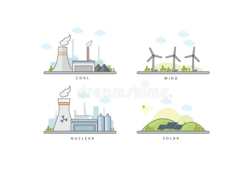 Vectorillustratie van steenkool, kern, zonne & windenergieinstallatie royalty-vrije illustratie