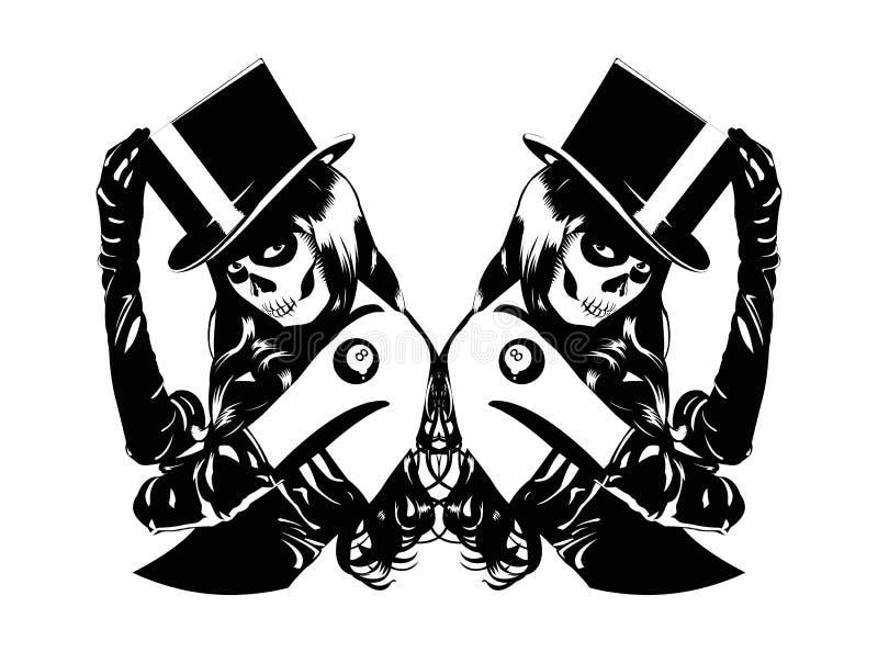 Vectorillustratie van Sugar Skull-meisjes royalty-vrije illustratie