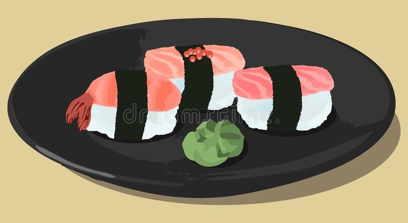 Vectorillustratie van sushi met met tonijn, zalm, garnalen en wasabi op donkere plaat royalty-vrije illustratie