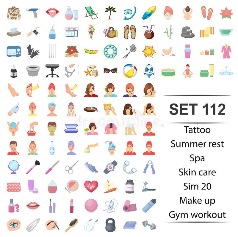 Vectorillustratie van tatoegering, de zomer, rust, huid, van de de gymnastiektraining van de zorgmake-up het pictogramreeks vector illustratie