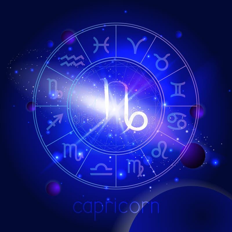 Vectorillustratie van teken STEENBOK met Horoscoopcirkel tegen de ruimteachtergrond stock illustratie