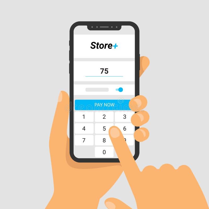 Vectorillustratie van telefoon ter beschikking De toepassing voor het betalen voor aankopen op het smartphonescherm Ga bedrag in vector illustratie