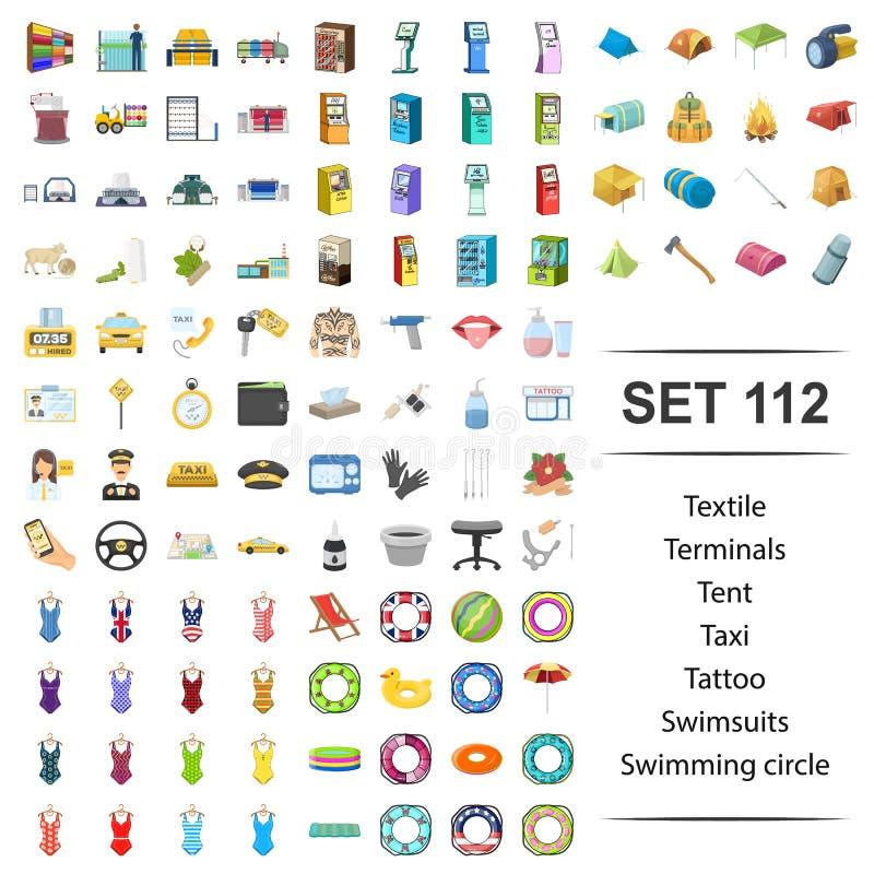 Vectorillustratie van textiel, terminal, tent, taxi, tatoegeringszwempak het zwemmen de reeks van het cirkelpictogram vector illustratie