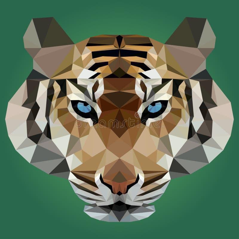 Vectorillustratie van tijger op groene achtergrond stock illustratie