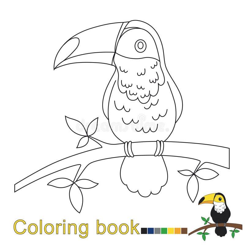 Vectorillustratie van toekan voor het kleuren van boek voor kinderen stock illustratie