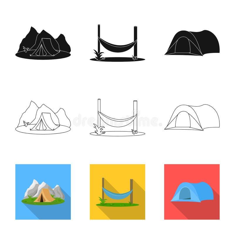 Vectorillustratie van toerisme en excursiesteken Inzameling van toerisme en rust voorraadsymbool voor Web vector illustratie