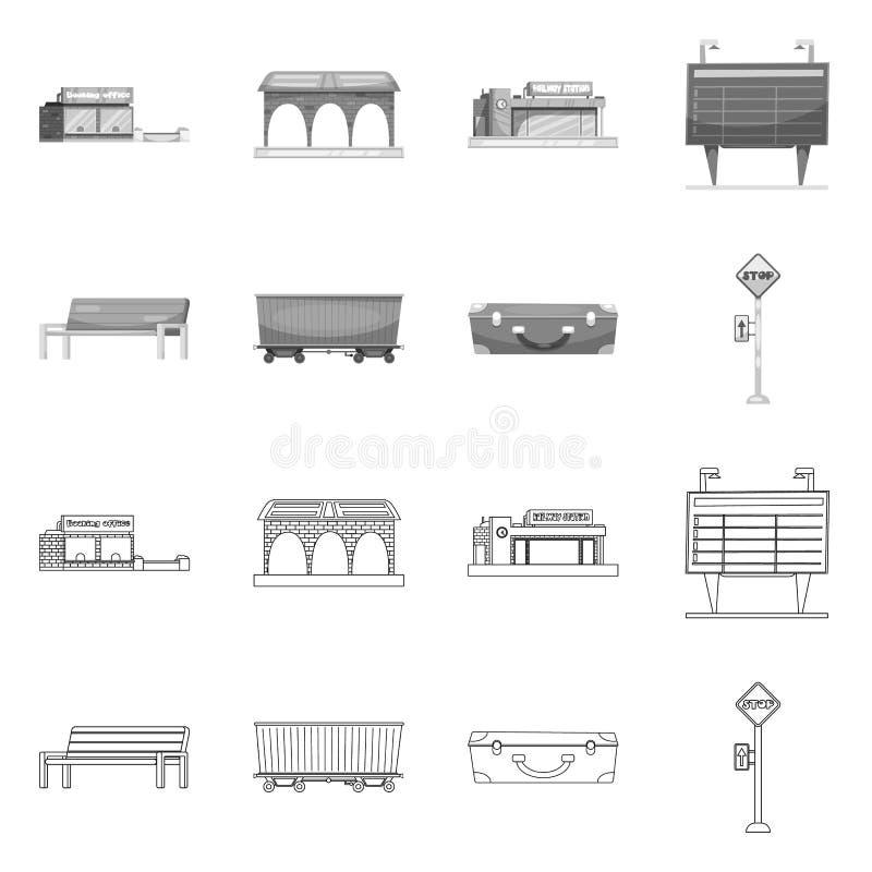 Vectorillustratie van trein en postembleem Inzameling van trein en kaartjesvoorraadsymbool voor Web royalty-vrije illustratie