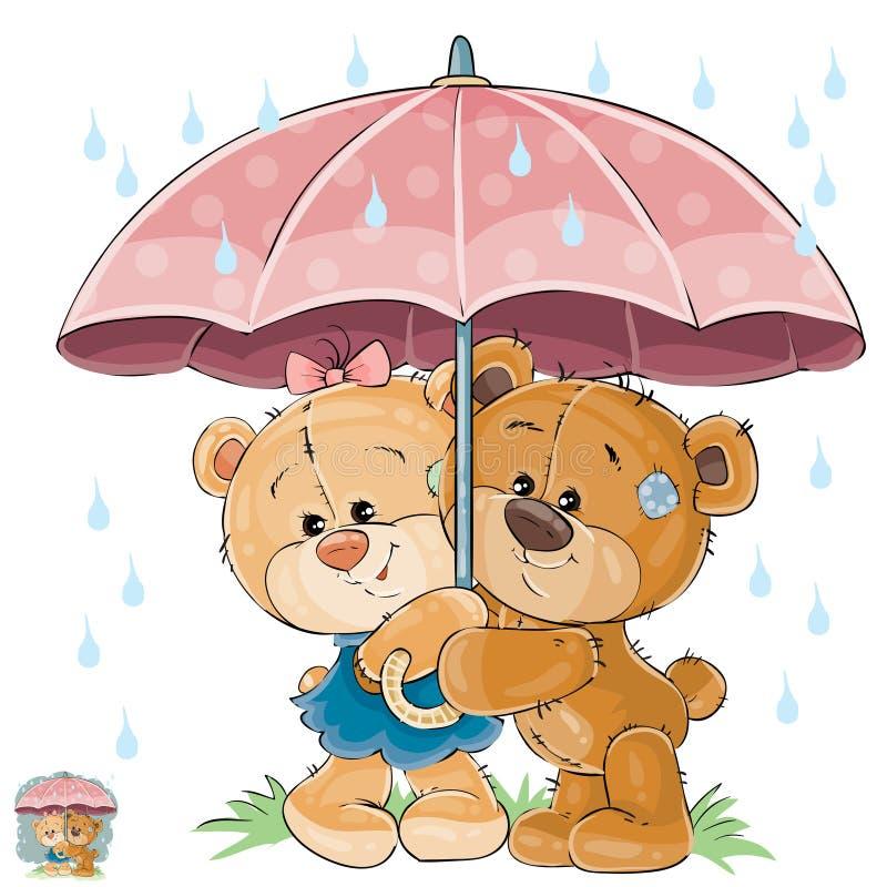 Vectorillustratie van twee het bruine van het teddybeerjongen en meisje verbergen van de regen onder de paraplu vector illustratie