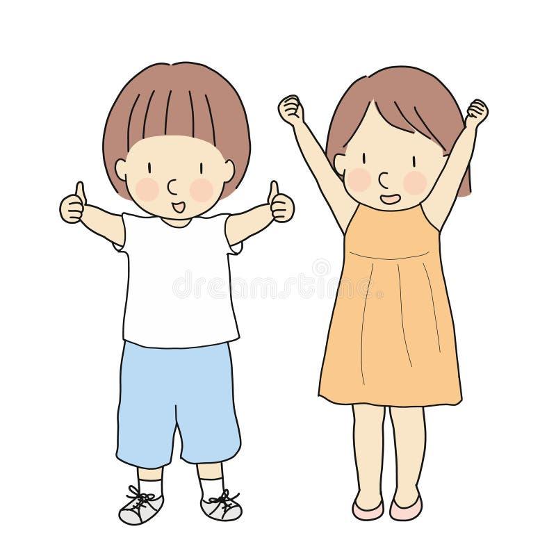 Vectorillustratie van twee jonge geitjes, jongen met duimen omhoog en meisje met opgeheven wapens & pasvormen die succes vieren T royalty-vrije illustratie
