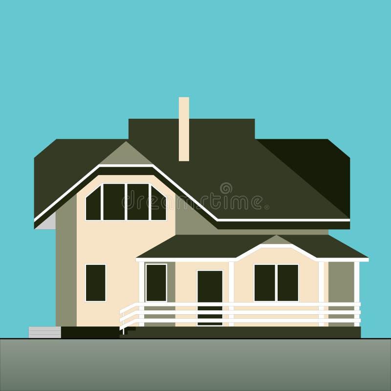 Vectorillustratie van twee vloer losgemaakt huis op een blauwe achtergrond Vlakke stijl royalty-vrije illustratie