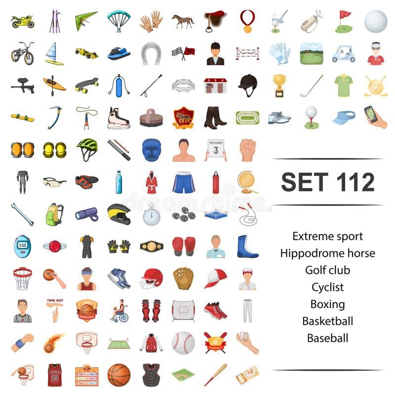 Vectorillustratie van uiterste, sport, renbaan, paard, golfclubfietser het in dozen doen het pictogramreeks van het basketbalhonk stock illustratie