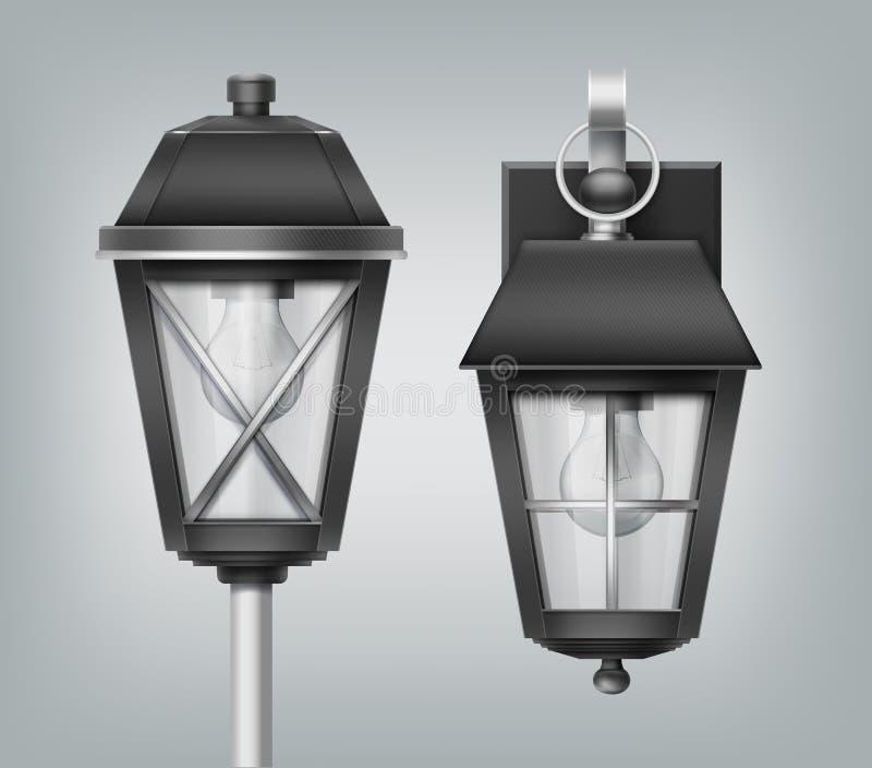 Vectorillustratie van uitstekende lantaarn op pool en muur, moderne elektrolampen, openluchtstraatlantaarns op achtergrond stock illustratie
