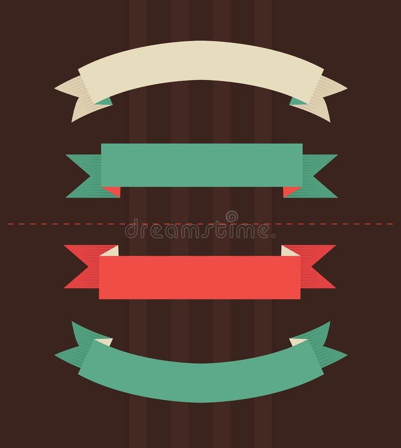 Vectorillustratie van uitstekende linten stock illustratie