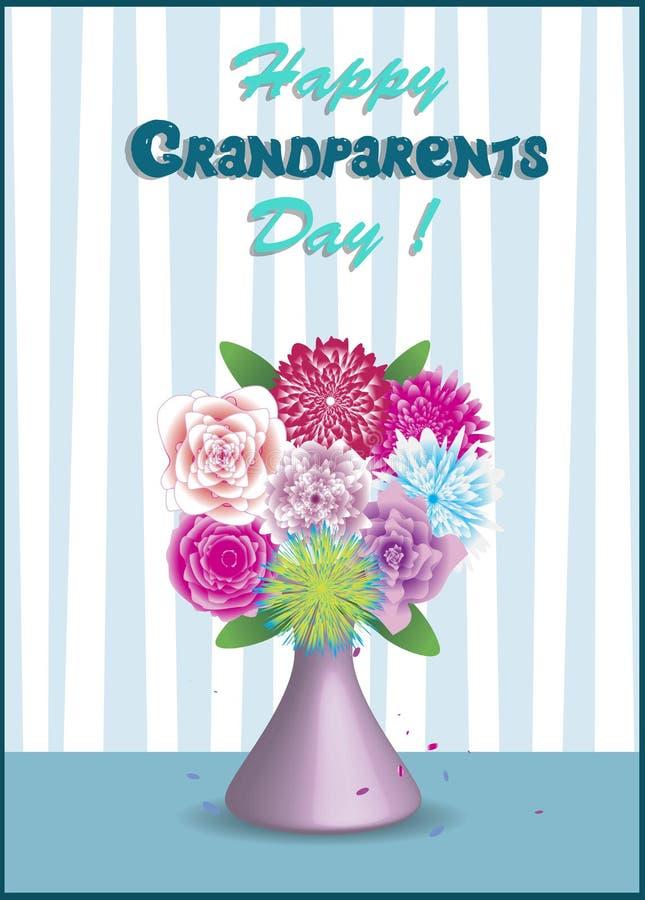 Vectorillustratie van vaas met boeket van mooie kleurrijke bloemen die op de lijst blijven stock illustratie