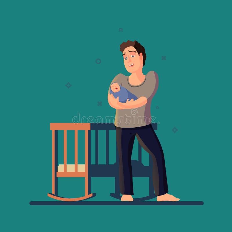 Vectorillustratie van vader wiegende schreeuwende baby Een donkere ruimte met een voederbak in vlak ontwerp vector illustratie