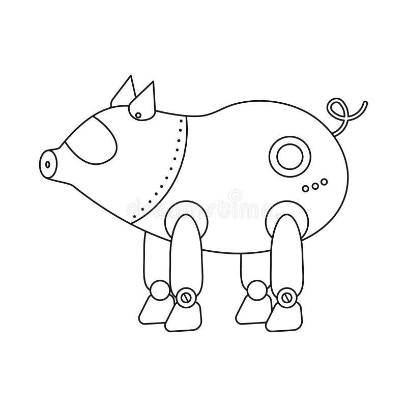 Vectorillustratie van varken en robotachtig embleem Inzameling van varken en cybernetica vectorpictogram voor voorraad stock illustratie