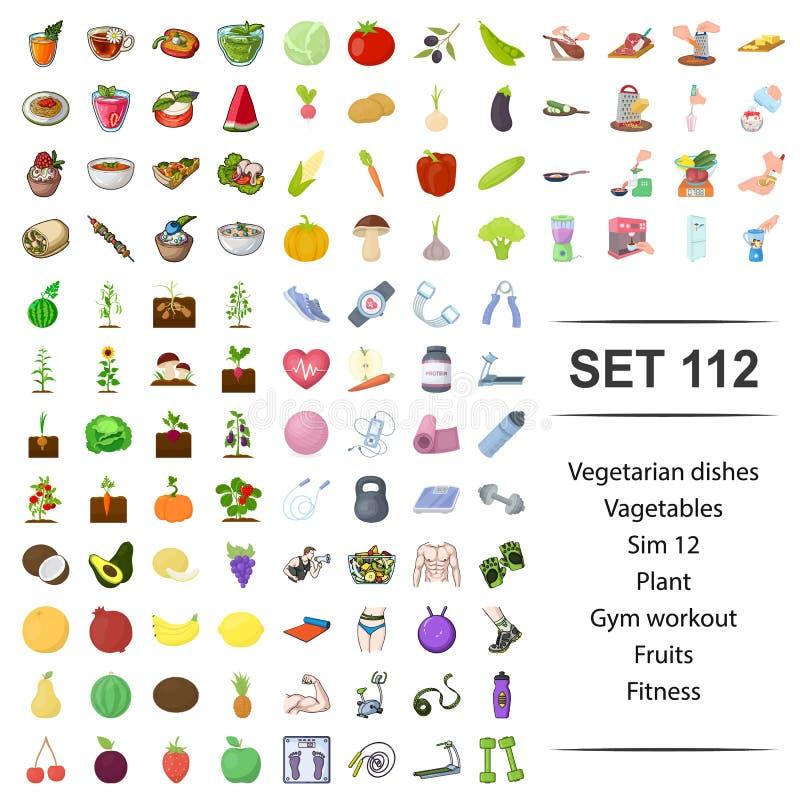 Vectorillustratie van vegetariër, schotels, groente, installatie, van de het fruitgeschiktheid van de gymnastiektraining het pict stock illustratie