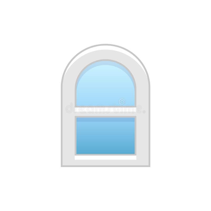 Vectorillustratie van venster van de boog het vinyl enig-gehangen sjerp Vlakke I stock illustratie