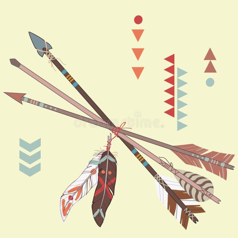 Vectorillustratie van verschillende etnische pijlen met veren stock illustratie