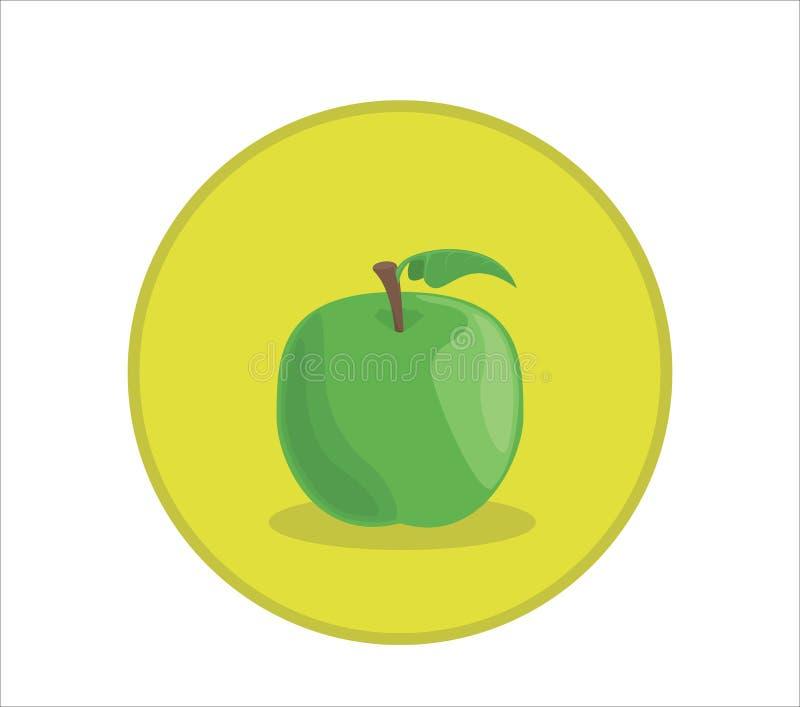 Vectorillustratie van verse groene appel Rond gemaakt symboolkenteken royalty-vrije illustratie