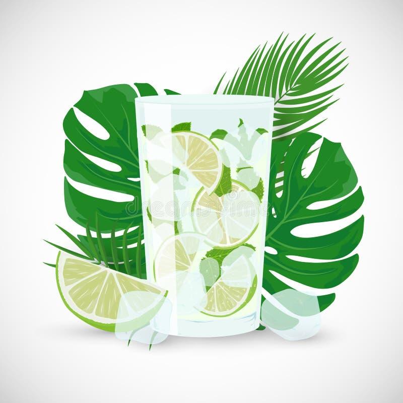 Vectorillustratie van verse Mojito-cocktail op tropische bladerenachtergrond royalty-vrije illustratie