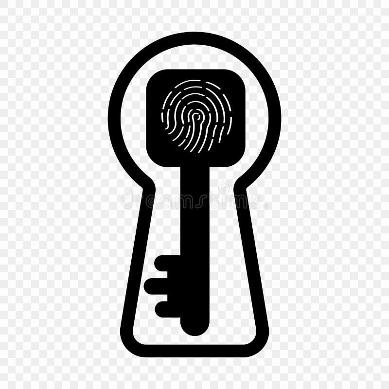 Vectorillustratie van vingerafdruksleutel, sleutelgat Het concept identificatie om een slot te openen Het voorwerp op geïsoleerd stock illustratie