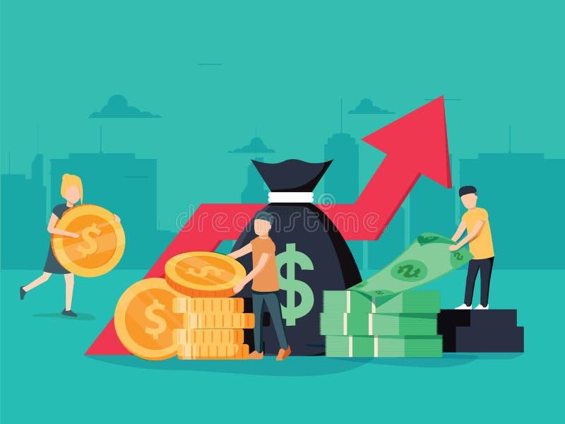 Vectorillustratie van virtuele bedrijfsmedewerker geld, het beheer van de kaarteninvestering Grafisch ontwerp bedrijfsconcept vector illustratie