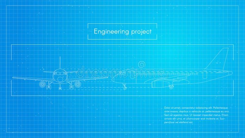Vectorillustratie van vliegtuig De blauwdrukachtergrond van techniekvliegtuigen royalty-vrije illustratie