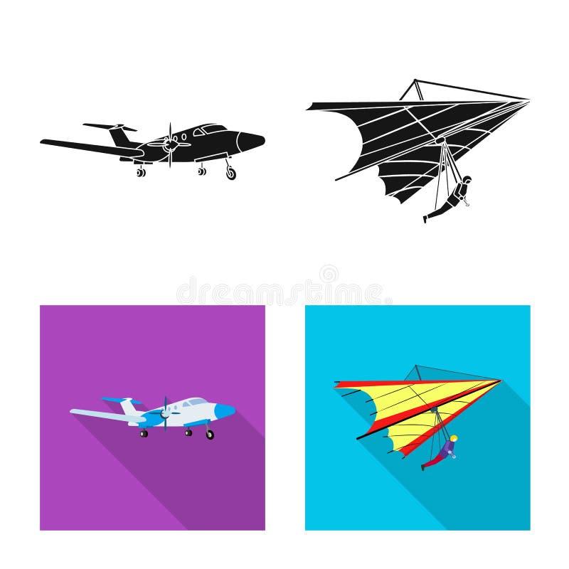 Vectorillustratie van vliegtuig en vervoerembleem Inzameling van vliegtuig en de vectorillustratie van de hemelvoorraad vector illustratie
