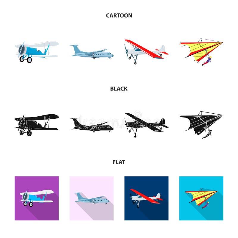 Vectorillustratie van vliegtuig en vervoerembleem Inzameling van vliegtuig en de vectorillustratie van de hemelvoorraad stock illustratie