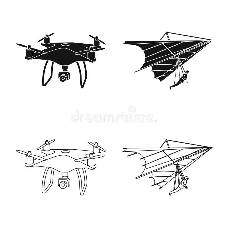 Vectorillustratie van vliegtuig en vervoerembleem Inzameling van vliegtuig en de vectorillustratie van de hemelvoorraad royalty-vrije illustratie