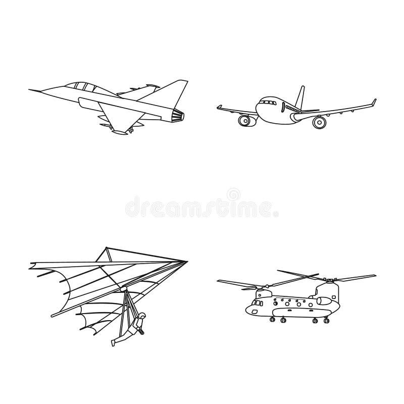 Vectorillustratie van vliegtuig en vervoerembleem Inzameling van vliegtuig en hemel vectorpictogram voor voorraad royalty-vrije illustratie