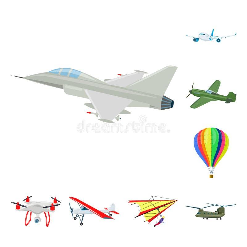 Vectorillustratie van vliegtuig en vervoerembleem Inzameling van vliegtuig en hemel vectorpictogram voor voorraad vector illustratie