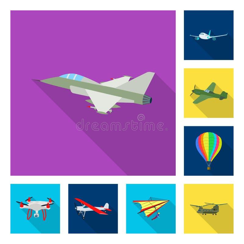 Vectorillustratie van vliegtuig en vervoerembleem Inzameling van vliegtuig en hemelvoorraadsymbool voor Web vector illustratie