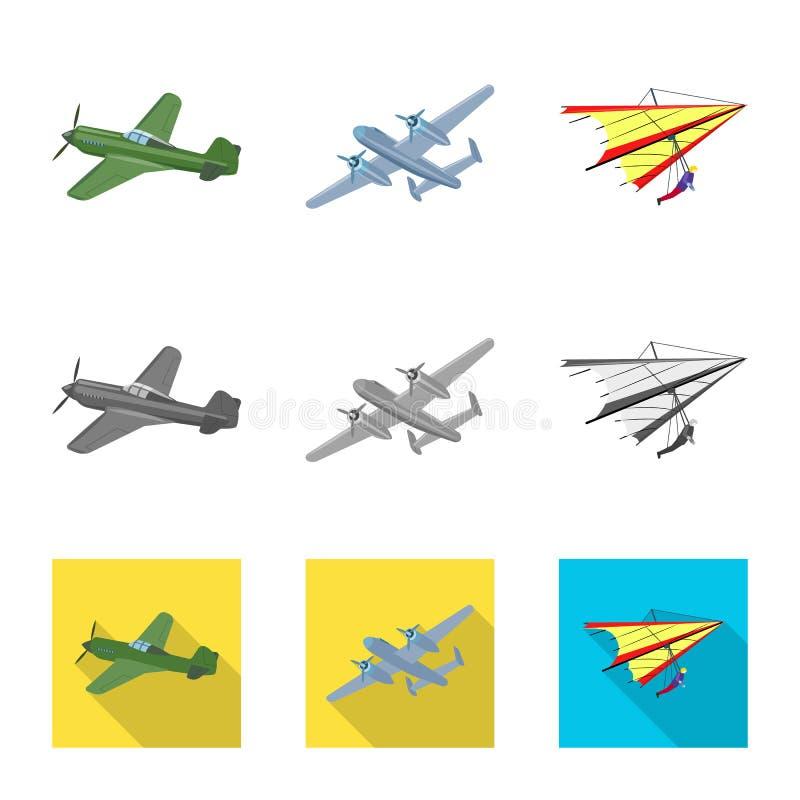 Vectorillustratie van vliegtuig en vervoerembleem Reeks van vliegtuig en de vectorillustratie van de hemelvoorraad stock illustratie
