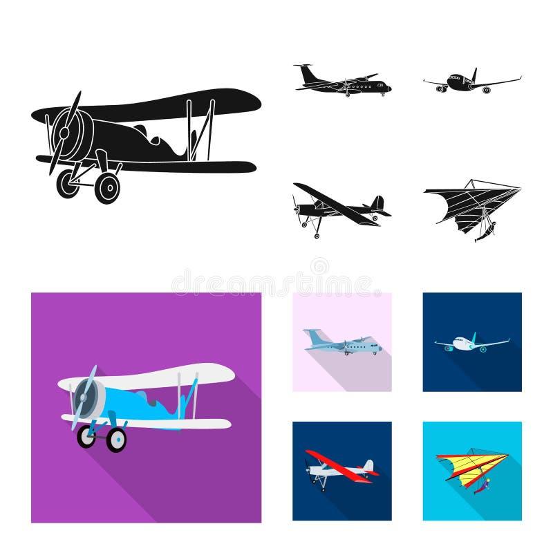 Vectorillustratie van vliegtuig en vervoerembleem Reeks van vliegtuig en hemel vectorpictogram voor voorraad stock illustratie