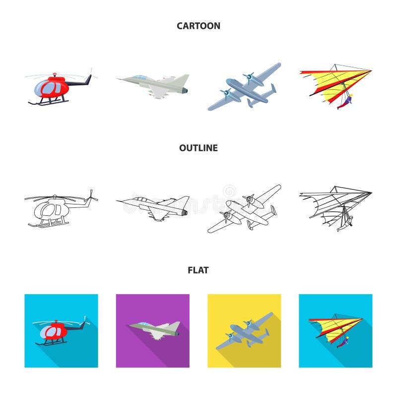 Vectorillustratie van vliegtuig en vervoerembleem Reeks van vliegtuig en hemel vectorpictogram voor voorraad vector illustratie