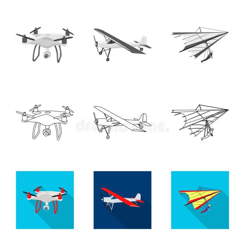 Vectorillustratie van vliegtuig en vervoerpictogram Inzameling van vliegtuig en de vectorillustratie van de hemelvoorraad stock illustratie