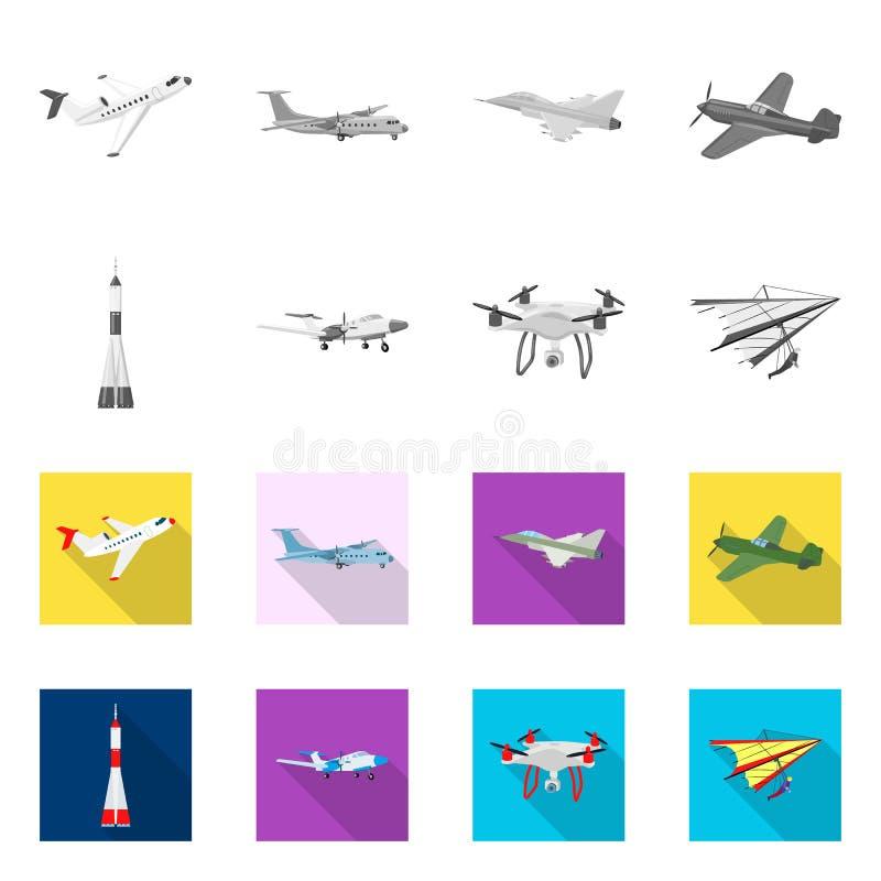 Vectorillustratie van vliegtuig en vervoerpictogram Inzameling van vliegtuig en hemel vectorpictogram voor voorraad stock illustratie