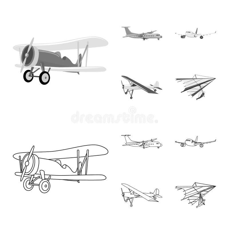 Vectorillustratie van vliegtuig en vervoerpictogram Inzameling van vliegtuig en hemelvoorraadsymbool voor Web vector illustratie