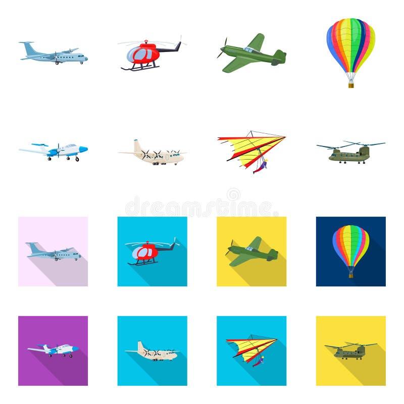 Vectorillustratie van vliegtuig en vervoerpictogram Reeks van vliegtuig en hemelvoorraadsymbool voor Web stock illustratie