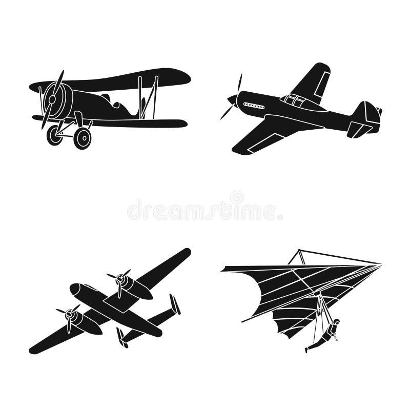 Vectorillustratie van vliegtuig en vervoerpictogram Reeks van vliegtuig en hemelvoorraadsymbool voor Web royalty-vrije illustratie