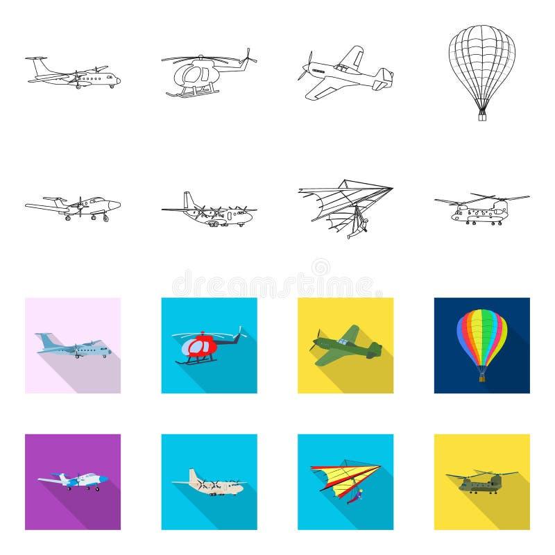 Vectorillustratie van vliegtuig en vervoersymbool Inzameling van vliegtuig en de vectorillustratie van de hemelvoorraad royalty-vrije illustratie