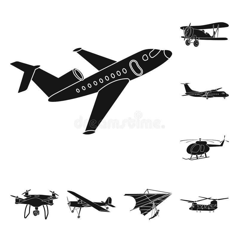 Vectorillustratie van vliegtuig en vervoersymbool Inzameling van vliegtuig en de vectorillustratie van de hemelvoorraad stock illustratie