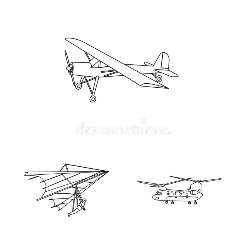 Vectorillustratie van vliegtuig en vervoersymbool Inzameling van vliegtuig en hemelvoorraadsymbool voor Web vector illustratie