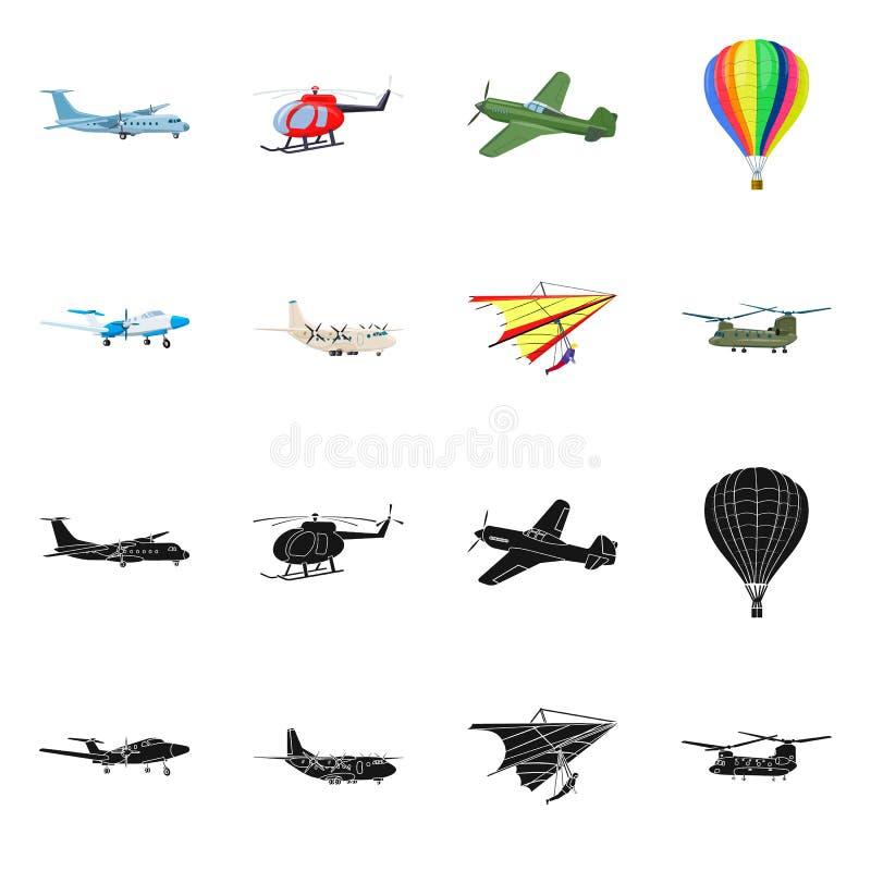 Vectorillustratie van vliegtuig en vervoersymbool Inzameling van vliegtuig en hemelvoorraadsymbool voor Web royalty-vrije illustratie