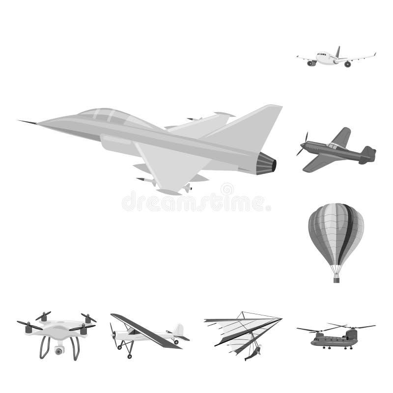 Vectorillustratie van vliegtuig en vervoersymbool Reeks van vliegtuig en de vectorillustratie van de hemelvoorraad royalty-vrije illustratie