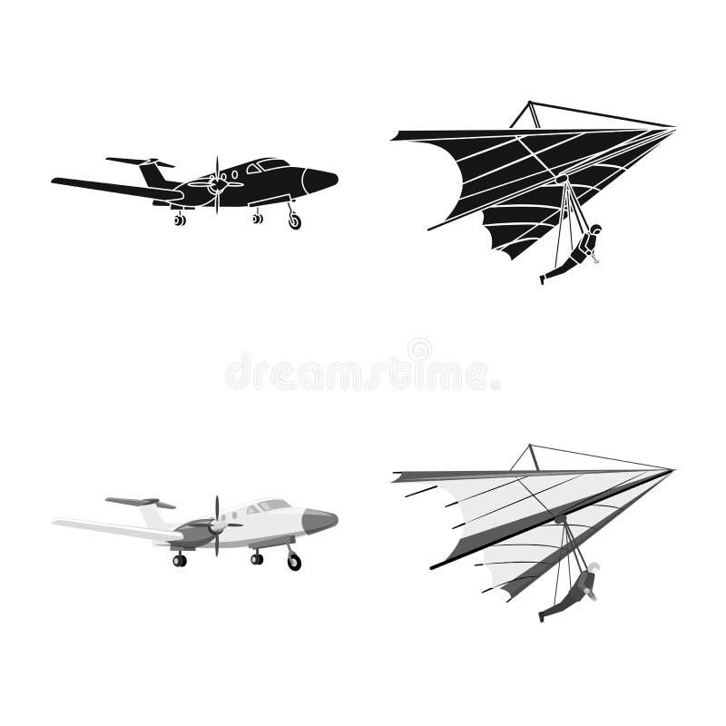Vectorillustratie van vliegtuig en vervoersymbool Reeks van vliegtuig en de vectorillustratie van de hemelvoorraad stock illustratie