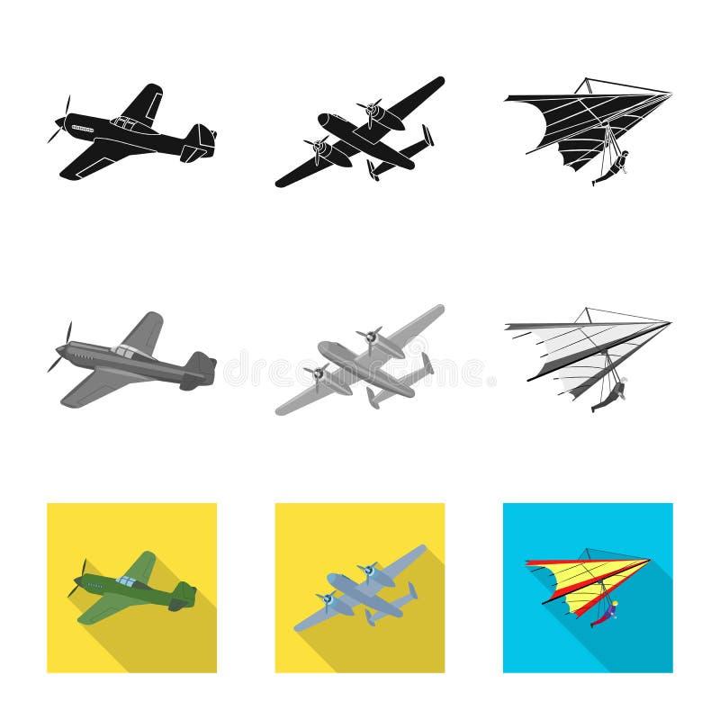 Vectorillustratie van vliegtuig en vervoersymbool Reeks van vliegtuig en hemelvoorraadsymbool voor Web vector illustratie